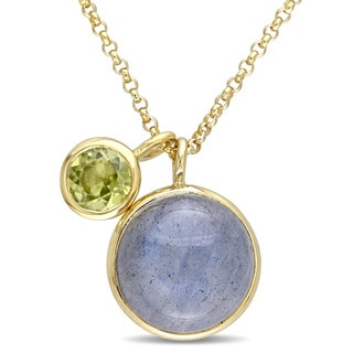 Miadora Yellow Plated Sterling Silver Labradorite and Prehnite Circle Charm Necklace