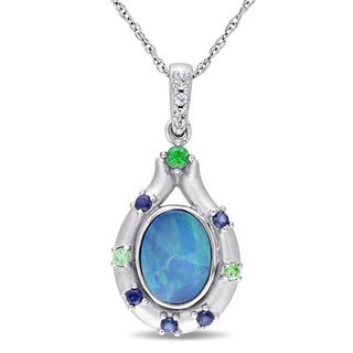 Miadora 10k White Gold Oval-cut Australian Green Opal White and Blue Sapphire and Tsavorite Bezel-set Necklace