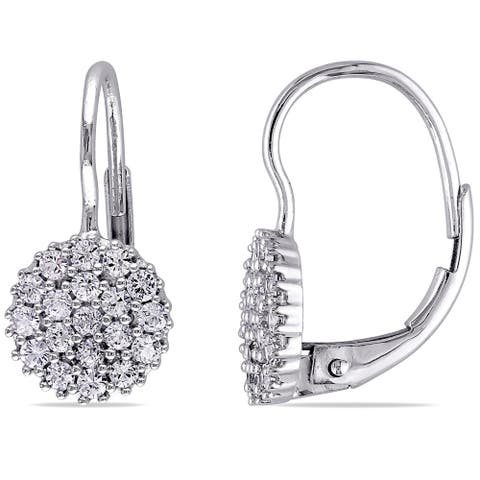 Miadora 14k White Gold White Sapphire Circle Cluster Leverback Earrings