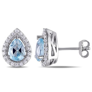 Miadora Sterling Silver Pear-cut Blue Topaz and Created White Sapphire Halo Teardrop Stud Earrings