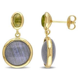 Miadora Yellow Plated Sterling Silver Labradorite and Prehnite Drop Dangle Earrings