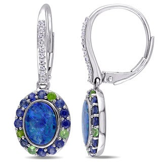 Miadora 10k White Gold Oval-cut Australian Blue Opal White and Blue Sapphire and Tsavorite Halo Leverback Dangle Earrings