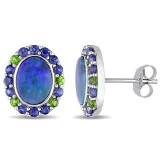Miadora 10k White Gold Oval-cut Australian Blue Opal Blue Sapphire and Tsavorite Halo Earrings