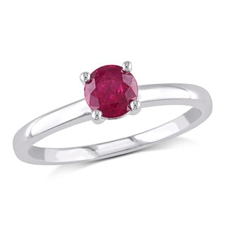 Miadora 10k White Gold Ruby Solitaire Ring