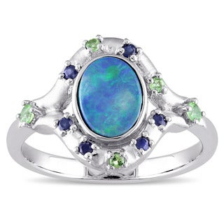 Miadora 10k White Gold Oval-cut Australian Green Opal Blue Sapphire and Tsavorite Bezel Set Cocktail Ring