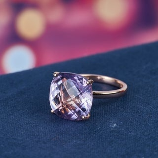 Miadora 14k Rose Gold Cushion-cut Pink Amethyst Cocktail Ring