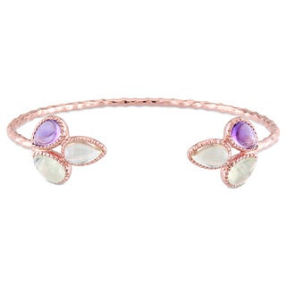 Miadora Rose Plated Sterling Silver Pear-cut Amethyst Lemon Quartz and Prehnite Open Cuff Flower Bangle Bracelet