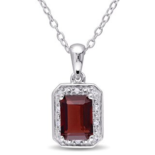Miadora Sterling Silver Emerald-cut Garnet and Diamond Accent Halo Necklace