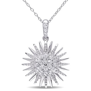 Miadora Sterling Silver White Topaz Star Necklace