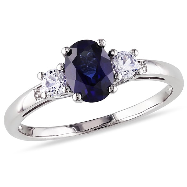 Shop Miadora 10k White Gold Oval-cut Created Blue and ...