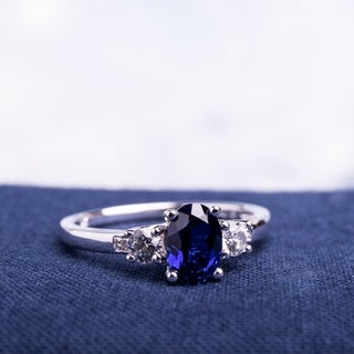 Miadora 10k White Gold Oval-cut Created Blue and White Sapphire Diamond Accent 3-stone Ring