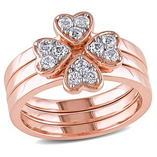 Miadora Rose Plated Sterling Silver White Topaz Clover Heart Stackable Rings