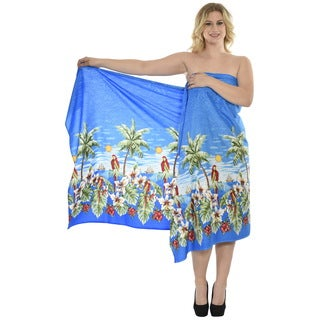 La Leela Likre Plus Size Cover up Beach View Palm Tree Swimsuit Sarong Wrap Blue