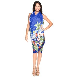 La Leela Likre Beach View Palm Tree Swimsuit Sarong Wrap Royal Blue Plus Size Cover up
