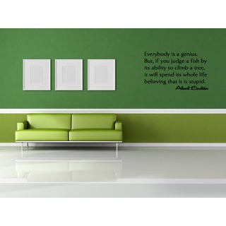 Inscription Everybody is a Genius Wall Art Sticker Decal