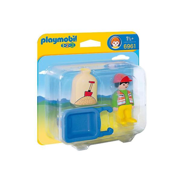 Playmobil Worker with Wheelbarrow Building Kit
