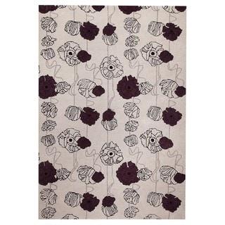 M.A.Trading Hand-Tufted Indo Deco Grey/ Mauve Rug (7'10 x 9'10)