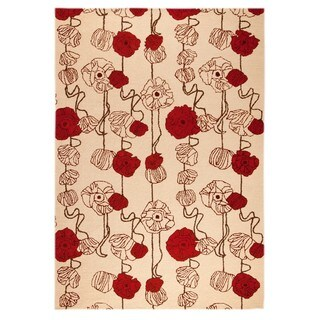M.A. Trading Hand-tufted Indo Deco Sand/ Red Rug (5'2 x 7'6)