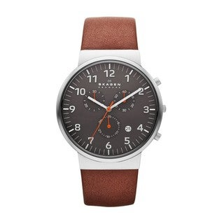 Skagen Men's Brown Leather Ancher Chronograph Dial Watch