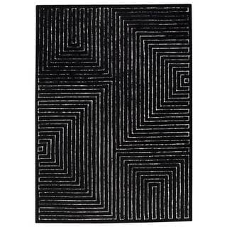 M.A. Trading Hand-tufted Indo Toledo Black/ White Rug (5'6 x 7'10)