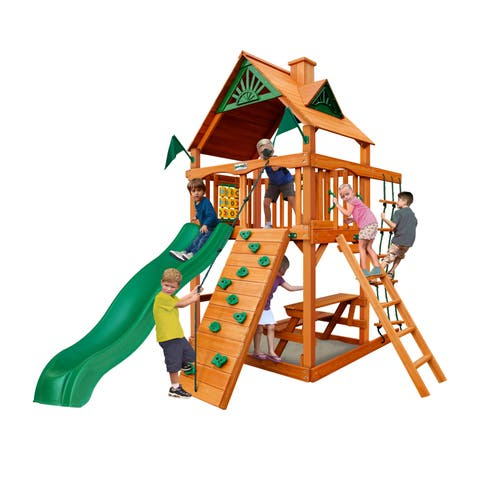 Gorilla Playsets Chateau Tower Cedar Swing Set with Natural Cedar Posts - Brown