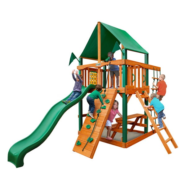 Gorilla Playsets Chateau Tower Swing Set with Timber Shield and Classic Green Vinyl Canopy