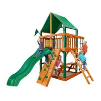 Gorilla Playsets Chateau Tower Cedar Swing Set with Green Vinyl Canopy and Timber Shield Posts - Brown