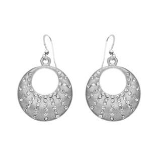 Isla Simone - Silver Tone Crystal Crescent Earring