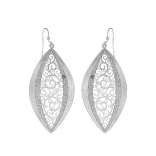 Isla Simone - Silver Tone Concave Paisley Eyelet Earring