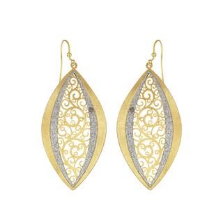 Isla Simone - Gold Tone Concave Paisley Eyelet Elliptical Earring