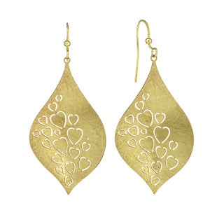 Isla Simone - Gold Tone Contour Heart Etched Elliptical Earring