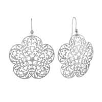 Isla Simone Silvertone Flower Etched Earrings