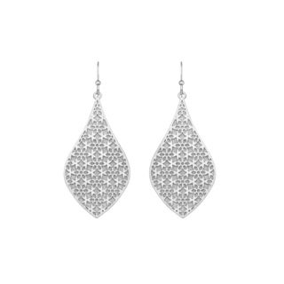 Isla Simone - Silver Tone Crystalized Bi-Lever Flower Earring
