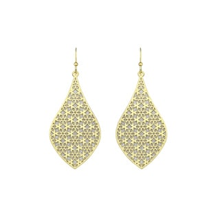 Isla Simone - Gold Tone Crystalized Bi-Lever Flower Earring
