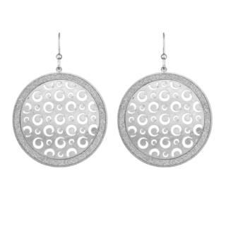 Isla Simone - Silver Tone Metal Dial Swirl Cutout Circle Earring
