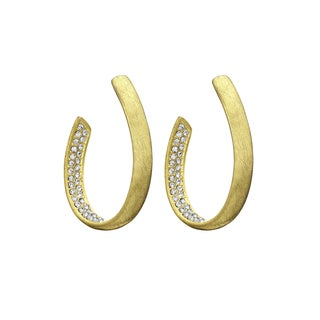 Isla Simone - Gold Tone Elliptical With Crystal Earring