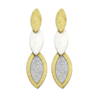 Isla Simone - 2-Tone Crystalized 2-Tier Egg Shaped Etched Earring