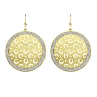 Isla Simone - Gold Tone Metal Dial Swirl Cutout Circle Earring