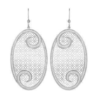 Isla Simone - Silver Tone Crystal Swirl Square Cutout Oval Earring