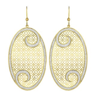 Isla Simone - Gold Tone Crystal Swirl Square Cutout Oval Earring