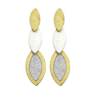 Isla Simone - Two-Tone Three Tier Elliptical Earring