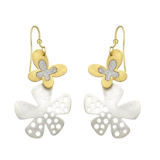 Isla Simone - Two-Tone Crystalized Butterfly And Flower Earring
