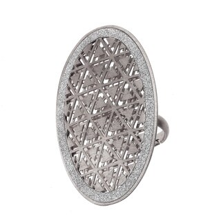 Isla Simone - Silver Tone Triangle Etched Oval Ring