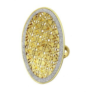Isla Simone - Gold Tone Triangle Etched Oval Ring