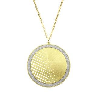 Isla Simone - Gold Tone Dial Half Polka-Dot Circle Necklace