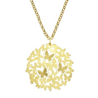 Isla Simone - Gold Tone 3D Butterfly Pendant Necklace