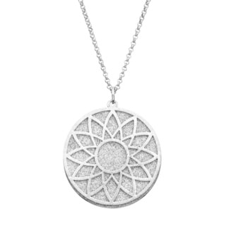 Isla Simone - Silver Tone Crystalized Bi-Level Sundial Necklace