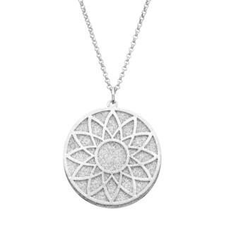 Isla Simone - Silver Tone Crystalized Bi-Level Sundial Necklace