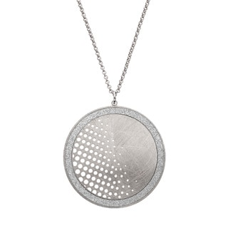 Isla Simone - Silver Tone Dial Half Polka-Dot Circle Necklace