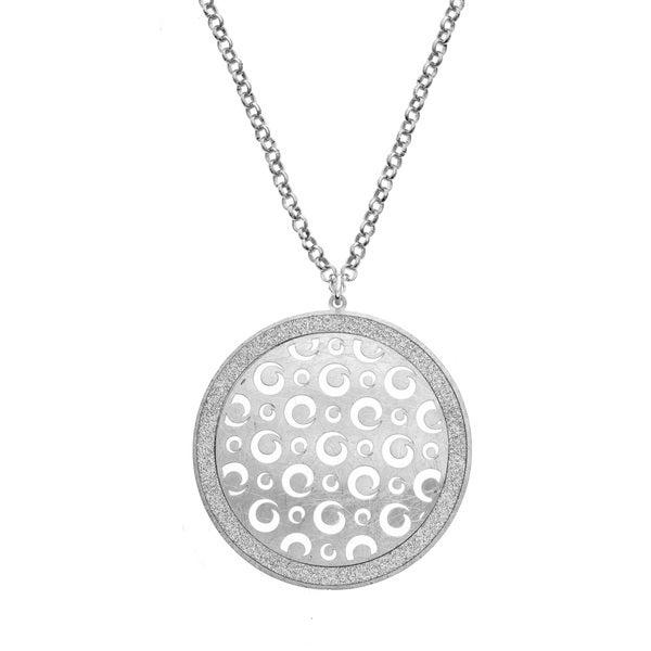 Isla Simone - Silver Tone Dial Swirl Cutout Circle Necklace